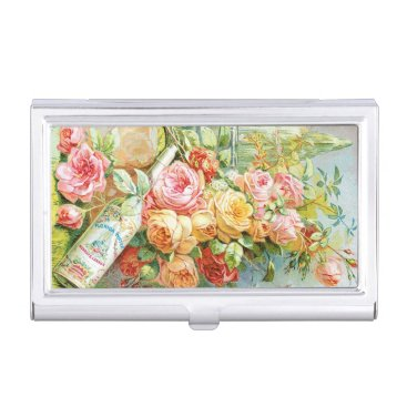 USA Themed Florida Water Perfume with Cabbage Roses Business Card Holder