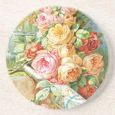 USA Themed Florida Water Perfume with Cabbage Roses Coaster