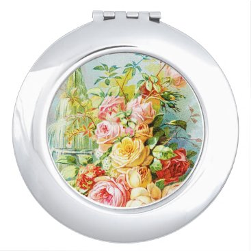 USA Themed Florida Water Perfume with Cabbage Roses Compact Mirror