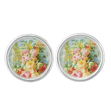 USA Themed Florida Water Perfume with Cabbage Roses Cufflinks
