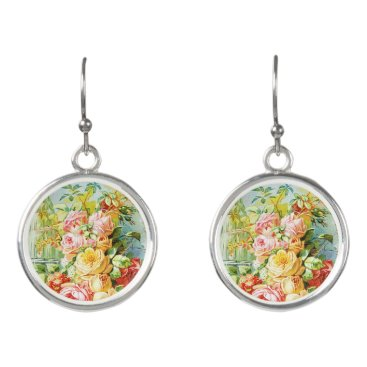 USA Themed Florida Water Perfume with Cabbage Roses Earrings
