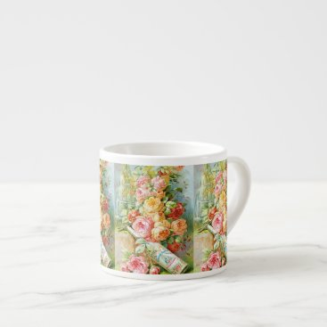 USA Themed Florida Water Perfume with Cabbage Roses Espresso Cup