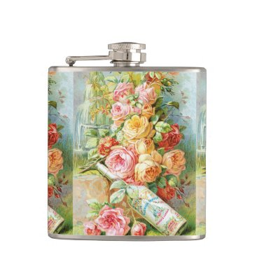 USA Themed Florida Water Perfume with Cabbage Roses Hip Flask