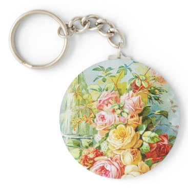 USA Themed Florida Water Perfume with Cabbage Roses Keychain