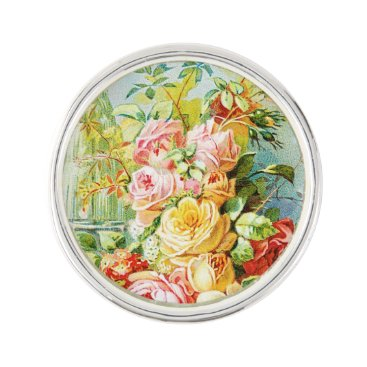 USA Themed Florida Water Perfume with Cabbage Roses Lapel Pin