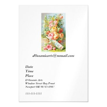 USA Themed Florida Water Perfume with Cabbage Roses Magnetic Card