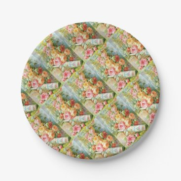 USA Themed Florida Water Perfume with Cabbage Roses Paper Plate