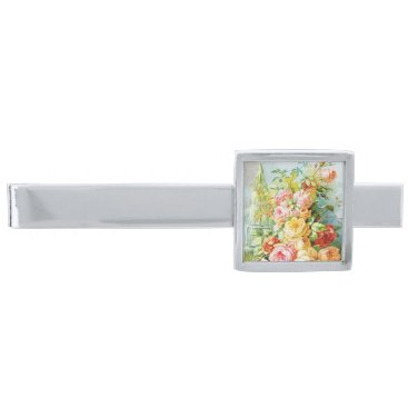 USA Themed Florida Water Perfume with Cabbage Roses Silver Finish Tie Bar