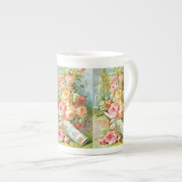 USA Themed Florida Water Perfume with Cabbage Roses Tea Cup