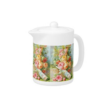 USA Themed Florida Water Perfume with Cabbage Roses Teapot