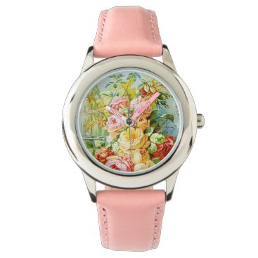 USA Themed Florida Water Perfume with Cabbage Roses Wristwatch