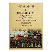 Florida Wedding Invitation Vintage Flamingos