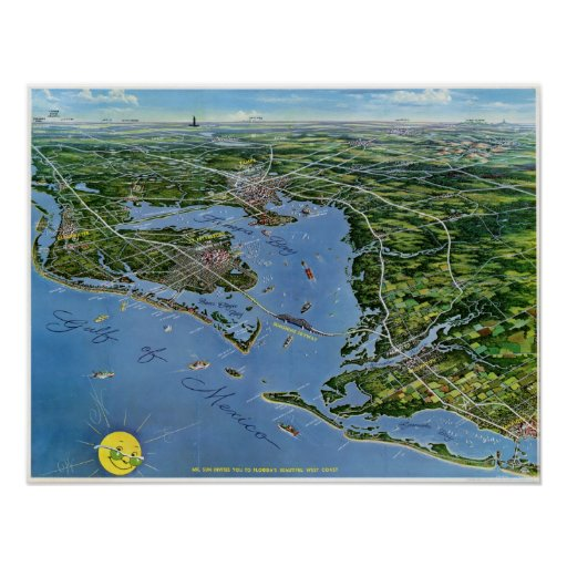 Florida West Coast Panoramic Vintage Map Poster