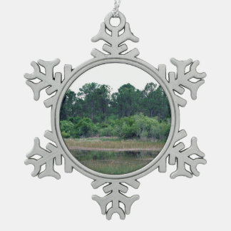 florida wetlands pines trees landscape snowflake pewter christmas ornament
