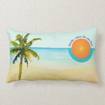 Beach Themed Florida... Where the Sun Lives Peaceful Beach Lumbar Pillow
