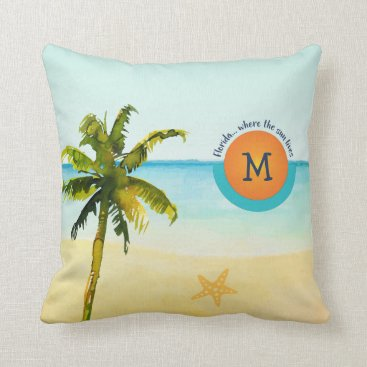 Beach Themed Florida... Where the Sun Lives Peaceful Beach Throw Pillow