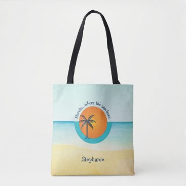 Beach Themed Florida... Where the Sun Lives Peaceful Beach Tote Bag