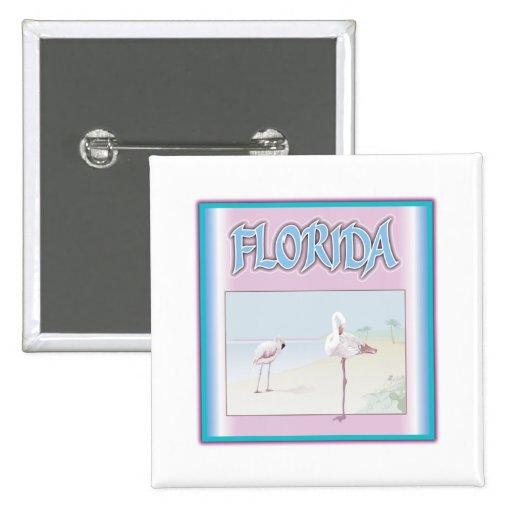 Florida White Flamingos Pinback Button