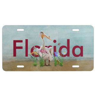 Florida, White Pelican, Flowers, Customized Text License Plate