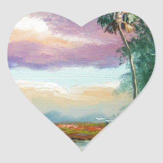 Florida Wilderness Painting Heart Sticker