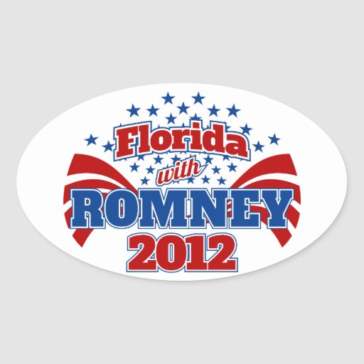 Florida with Romney 2012 Oval Sticker