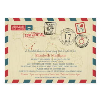 Florida World Traveler Airmail | Bridal Shower 5x7 Paper Invitation Card
