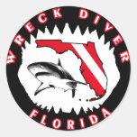 Florida Wreck Diver Shark Jaw Round Stickers