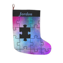 Florillas Autism Missing Piece Large Christmas Stocking