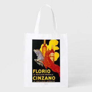Florio Cinzano Vintage PosterEurope Grocery Bags