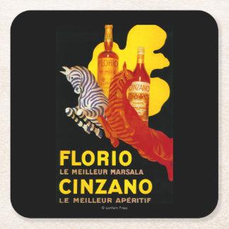 Florio Cinzano Vintage PosterEurope Square Paper Coaster