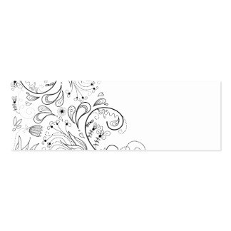 Florish Floral Victorian Flowers Illustration Double-Sided Mini Business Cards (Pack Of 20)