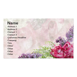 Florist Bouquet, Roses, Lilacs, Lily of the Valley Business Cards