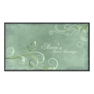 Florist Business Card Light Green Swirls Butterfly