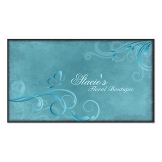 Florist Business Card Teal Blue Swirls Butterfly