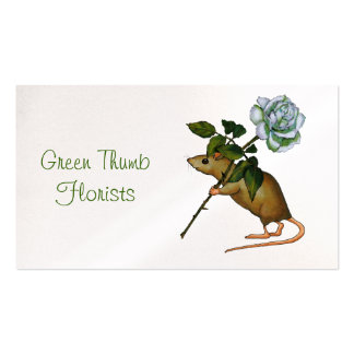 Florist, Flower Business, Mouse with White Rose Double-Sided Standard Business Cards (Pack Of 100)
