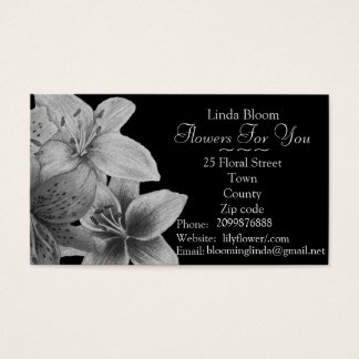 florist gardener Lilly flowers black and white Business Card
