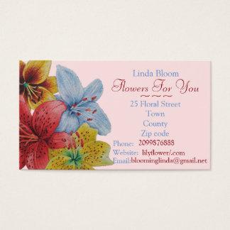 florist gardener red yellow blue flowers art business card
