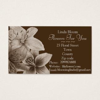 florist/gardener red yellow blue Lilies floral Business Card