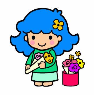 Florist Girl Standing Photo Sculpture