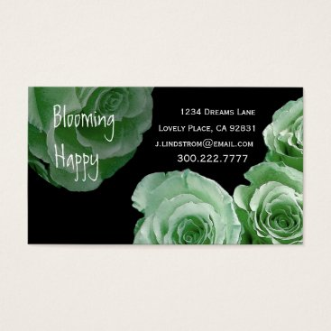 Professional Business FLORIST - Mint Rose Bouquet Business Card Template