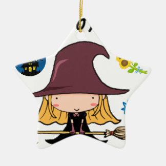 Florist of witch Double-Sided star ceramic christmas ornament