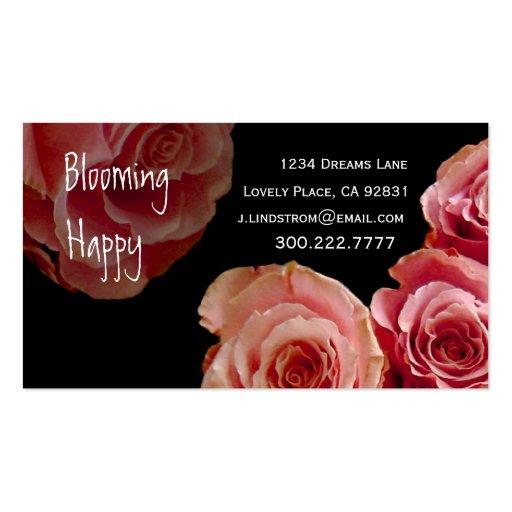 FLORIST - Pink Rose Bouquet Business Card Template