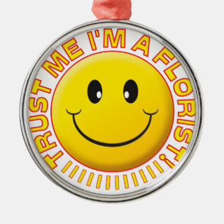 Florist Trust Me Smiley Silver-Colored Round Decoration
