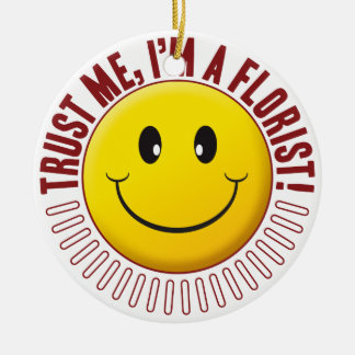 Florist Trust Smiley Double-Sided Ceramic Round Christmas Ornament