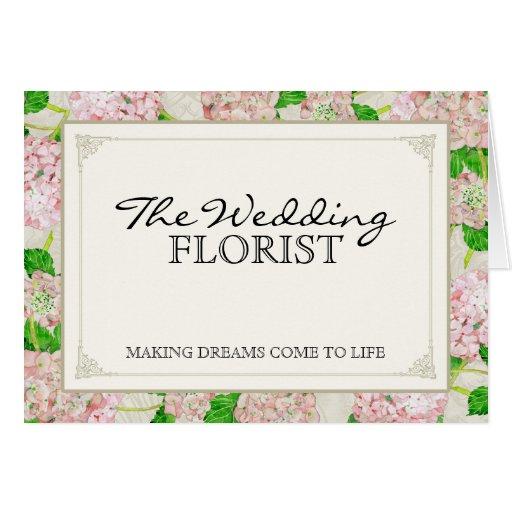 Florist Wedding Business Bouquet Pink Hydrangea Greeting Card