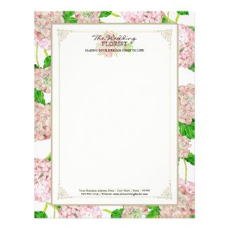 Florist Wedding Business Bouquet Pink Hydrangea Letterhead