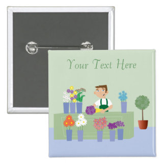 Florist Working In Store With Flowers Personalized Pins