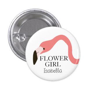 Florista banal del flamenco rosado pin redondo de 1 pulgada