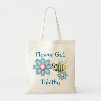 Florista de la flor y de la abeja bolsa tela barata