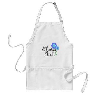 Florista de la margarita azul delantal